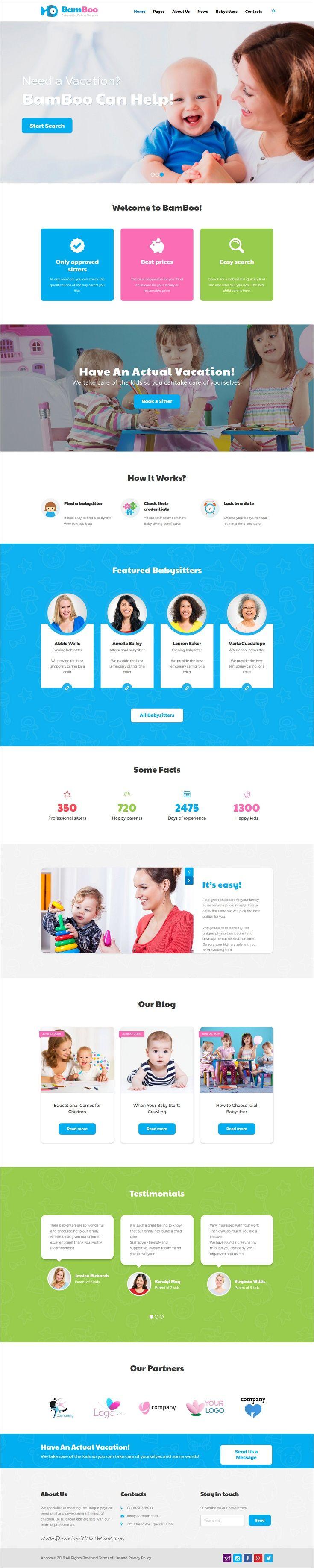 Bamboo is a modern and functional design responsive #WordPress theme for #babysitters online network, professional #nurses teams, nannies, preschool, kindergarten or children educational websites download now➩ https://themeforest.net/item/bamboo-babysitters-online-network-wp-theme/17324294?ref=Datasata