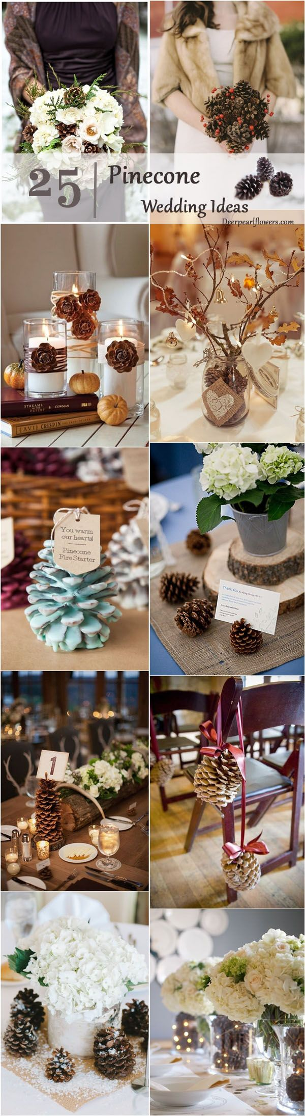 winter fall rustic pinecone wedding ideas / http://www.deerpearlflowers.com/rustic-winter-pinecone-wedding-ideas/