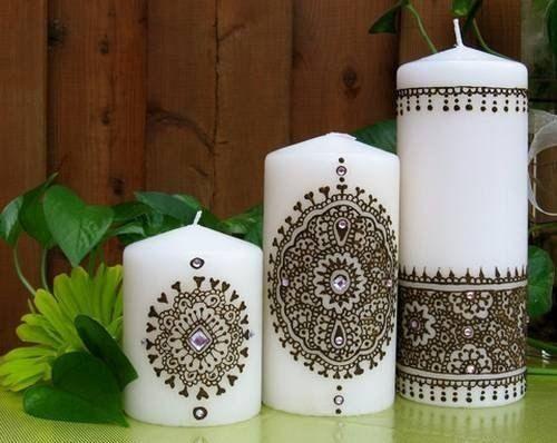 Свечи украшенные хной (мехенди).
