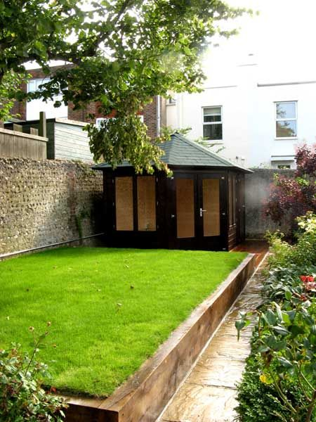 Rectangular raised lawn with railway sleepers
