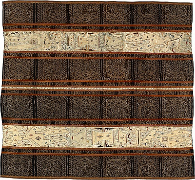 | Womans ceremonial skirt [tapis inu] Paminggir people: Lampung, Sumatra, Indonesia : 19th century cotton, silk, natural dyes 130.0 (h) x 120.0 (w) cm Acquired through gift and purchase from the Collection of Robert J Holmgren and Anita E Spertus, New York 2000 National Gallery of Australia, Canberra