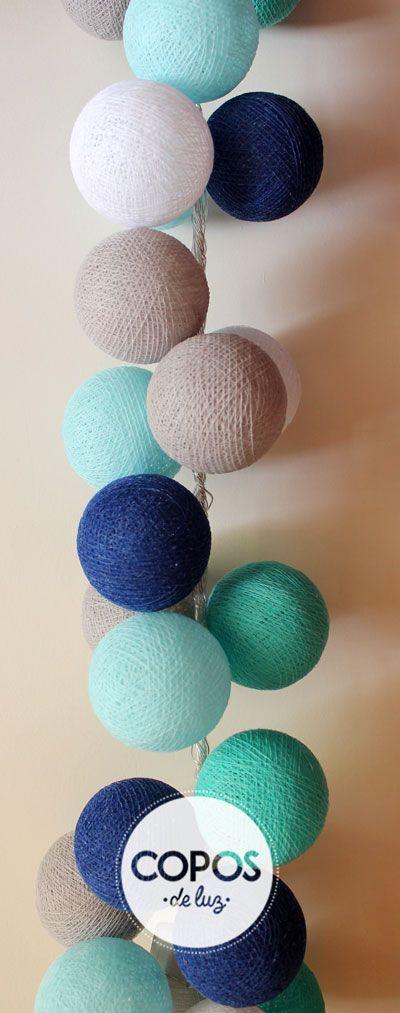 guirnalda de luz santorini bolas de hilo y luz artesanales coposdeluz
