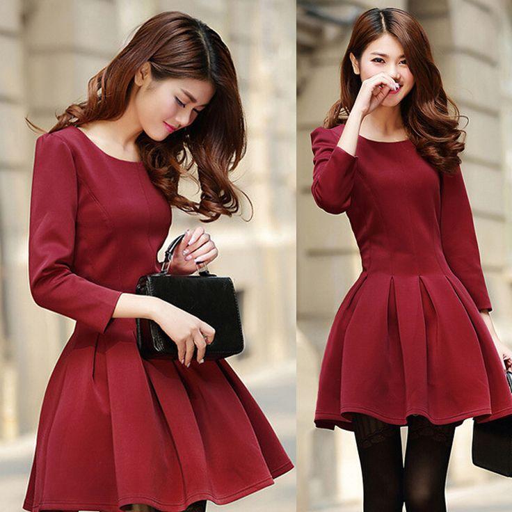 Europe nouvelle mode 2014 automne hiver femme hiver, robes élégantes en laine épaisse 3/4 manches bouffantes g1623 plissée robe robe de bal