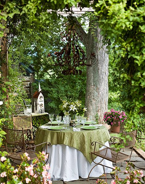Patio Dining - Sometimes I invite a friend to eat outside on the grounds of my cottage. We love the fresh air and bird songs and the sound of the little brook nearby.