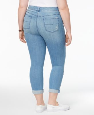 Melissa McCarthy Seven7 Trendy Plus Size Embroidered Skinny Jeans - Blue 16W