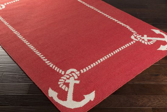 Surya Somerset Bay Boardwalk BDW-4034 in a cherry red will pull together your nautical beach decor. Accent with white and navy items around your home to complete the coastal look.