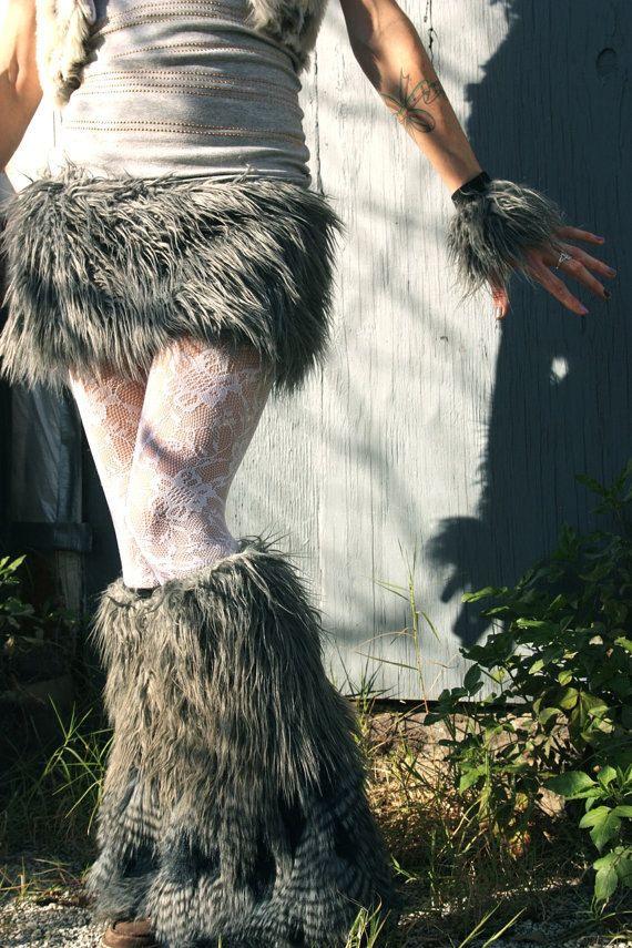 GReY FLuffy SKiRT-- wolf bunny bear animal CoSTume Accessory -- Adult Sm Md tutu skirt dance funky pixie retro urban festivals summer on Etsy, $34.00