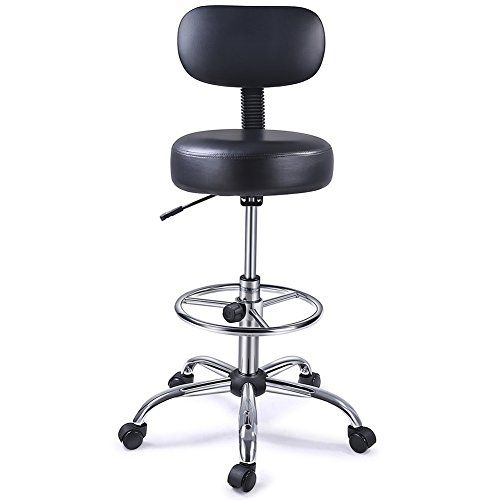 Superjare Drafting Chair With Adjustable Foot Rest Rolling Swivel Stool With Backrest For Home Office Black Drafting Chair Chair Round Swivel Chair