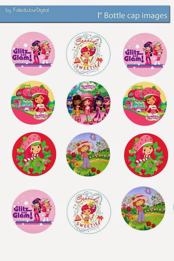 "Free Bottle Cap Images: Strawberry Shortcake free 1"" inch digital bottle cap images"