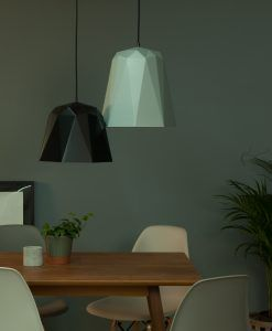 DECISION NEEDED: Geometric Pendant Lights in 3 Monochromatic Shades. Nagoya grey.