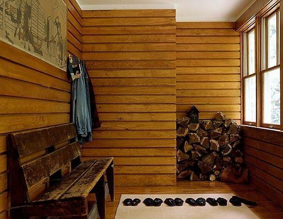 Home Decor, The Vinyl Types Of Wood Paneling With The Modern And Elegant Design Ideas For The Small And Narrow Room With Long Traditional Wooden Bench With Clothes Hanger Also Rug On The Floor With Some Sandals ~ Some Modern And Elegant Types Of Wood Paneling To Design Your Room