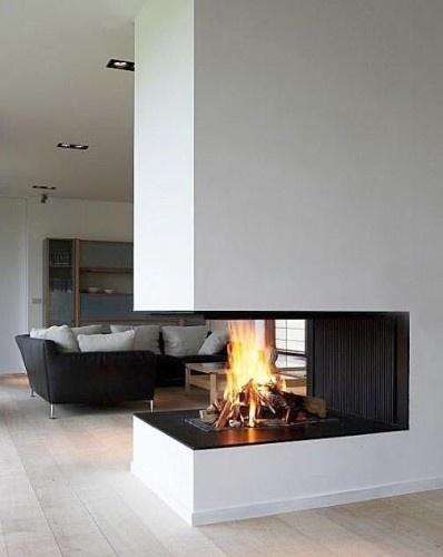 custom multi-sided modern linear fireplace