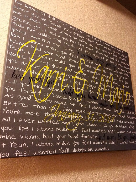 Wanted by Hunter Hayes    This was a custom canvas that we fell in love with! This canvas is a homage to a wedding! The song lyrics are from the