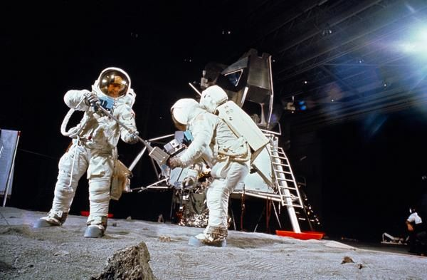 Here Aldrin & Armstrong on earth, April 1969, rehearsing for Apollo 11 moon landing