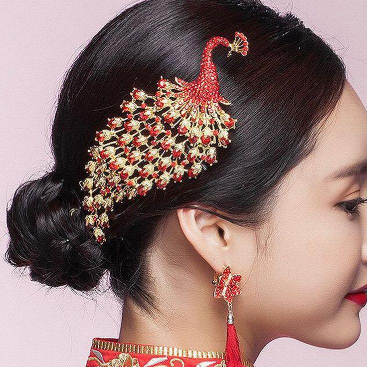 Acessórios Para o Cabelo de Casamento tradicional Chinês Do Vintage Cristal Vermelho Strass Pavão Pentes De Cabelo de Noiva Noiva Tiaras(China (Mainland))