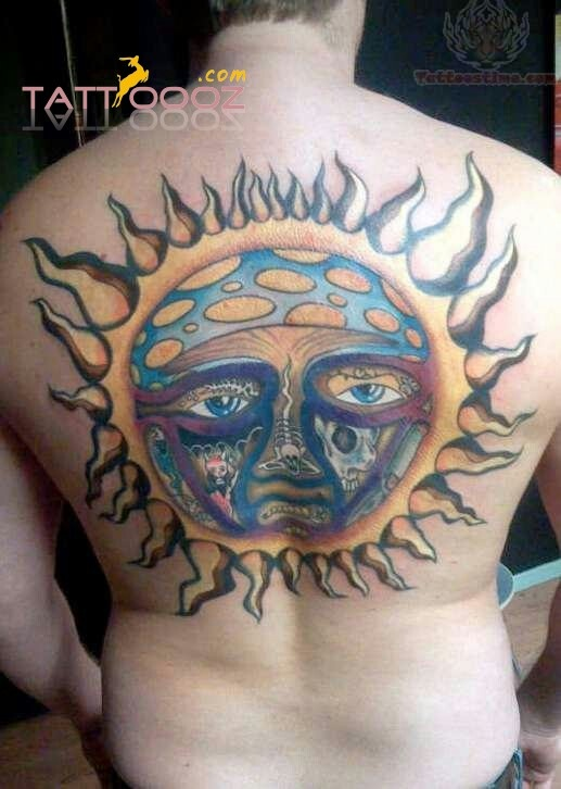 colourfull sun tattoo designs on boys backs or even mens back p full of colours it looks. Black Bedroom Furniture Sets. Home Design Ideas