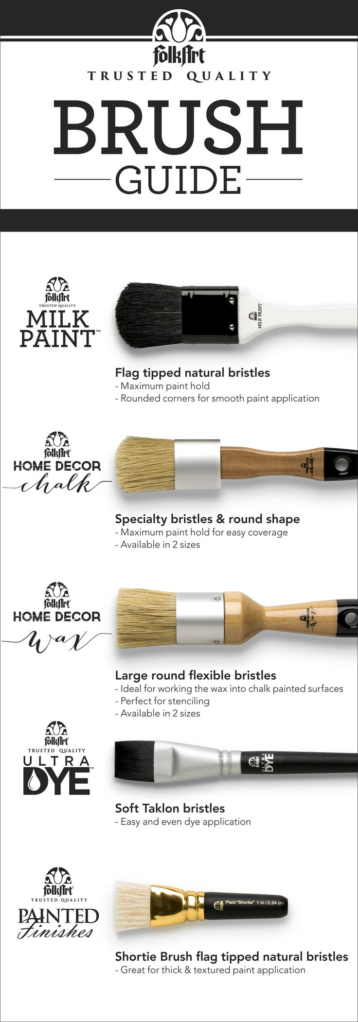 Pick the perfect brush from FolkArt to make application flawless!