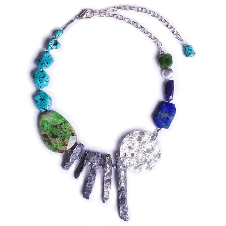 N°137 The Lapis Lazuli & Turquoise Theory of Everything Statement Necklace - Luka - Contemporary Handcrafted Statement Jewellery Australia  $ AUD 269, free global shipping & returns. #statement necklaces, #designer jewellery, #unique jewellery, #handcrafted jewellery, # bespoke jewellery