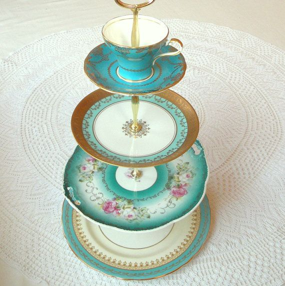 Aqua, Teal, Turquoise & Tiffany Blue Large 4Tier Cupcake Stand Tower, Macaron Display, Cake Plate Tray, Mad Hatter Centerpiece with Cup & Saucer or Tiered Alice in Wonderland Dessert Pedestal Platter of Vintage English China Dishes by High Tea For Alice