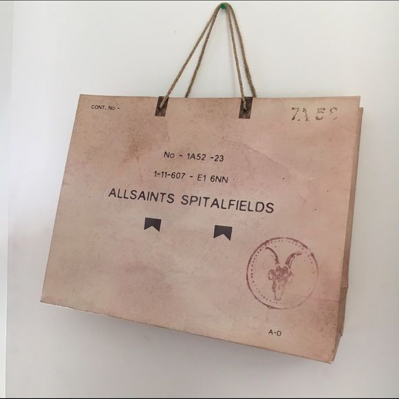 medium ALL SAINTS shopping bag ! Make your sales more professional with a fabulous high end shopping bag! Great condition . No trades ✨ All Saints Bags