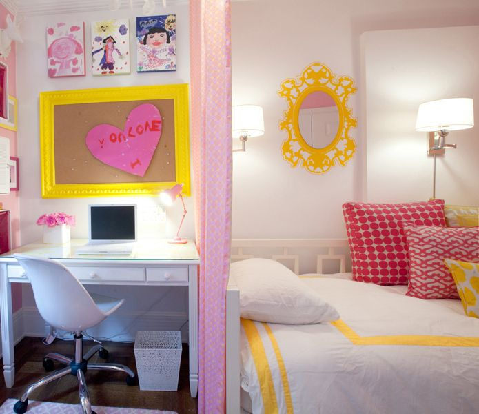 girl's rooms - white West Elm overlapping squares daybed white bedding yellow border hot pink pillows yellow pillows white desk white plastic chair yellow orante frames bulletin board pink canopy