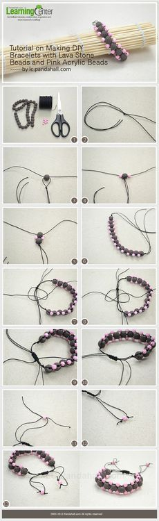 Jewelry Making Tutorial-Make Bracelets with Lava Stone Beads and Pink Acrylic Beads