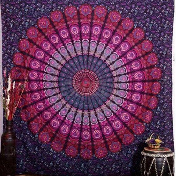 Katoen Tapestry Mandala Tapestry, Mandala Bed Spreads, Mandala wandtapijten, Boheemse Tapestry, strand deken, paars wandtapijten, muur opknoping