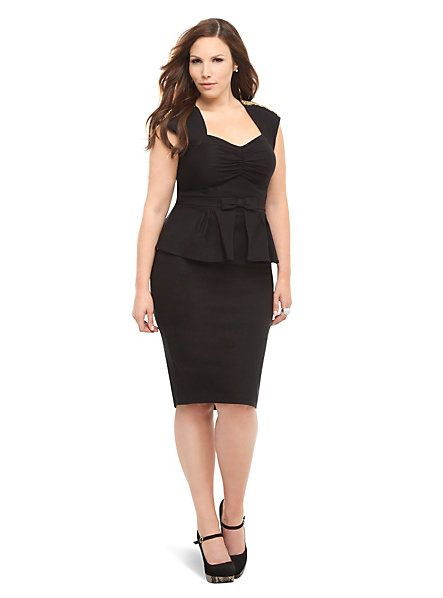 Stop Staring! - Black With Gold Beads Peplum Icon Dress | Torrid
