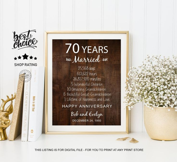 70th anniversary gift idea for parents grandparents