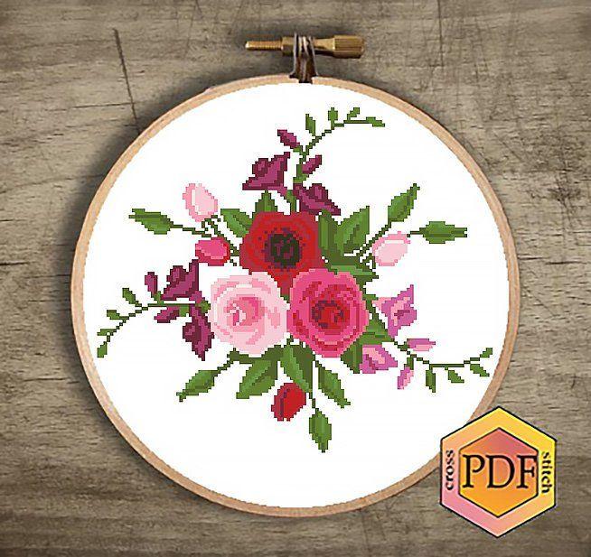 Roses Cross Stitch Pattern Pdf Flowers Cross Stitch Modern Etsy Kanavice Elde Nakis Seccade