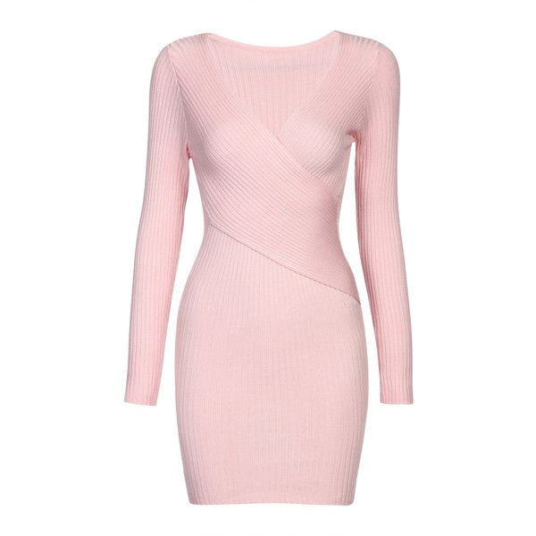 Yoins Pink Body-con Jumper Dress ($29) ❤ liked on Polyvore featuring dresses, pink, v neck bodycon dress, knit dress, pink v neck dress, sweater dresses and pink day dress