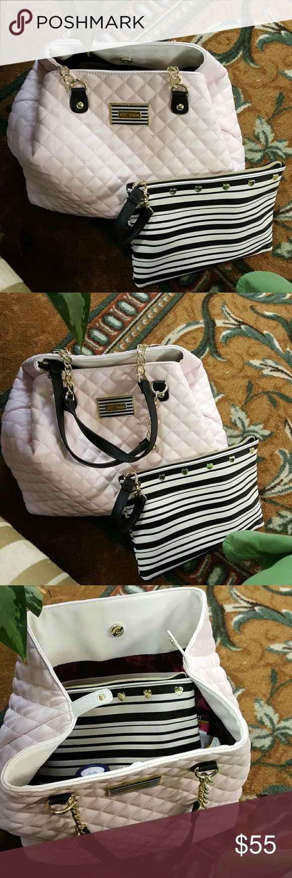 Betsey Johnson handbags with clutch bag Ex large pale pink handbag with black and white stripes clutch bag. Used only twice. Very beautiful. Betsey Johnson Bags Shoulder Bags
