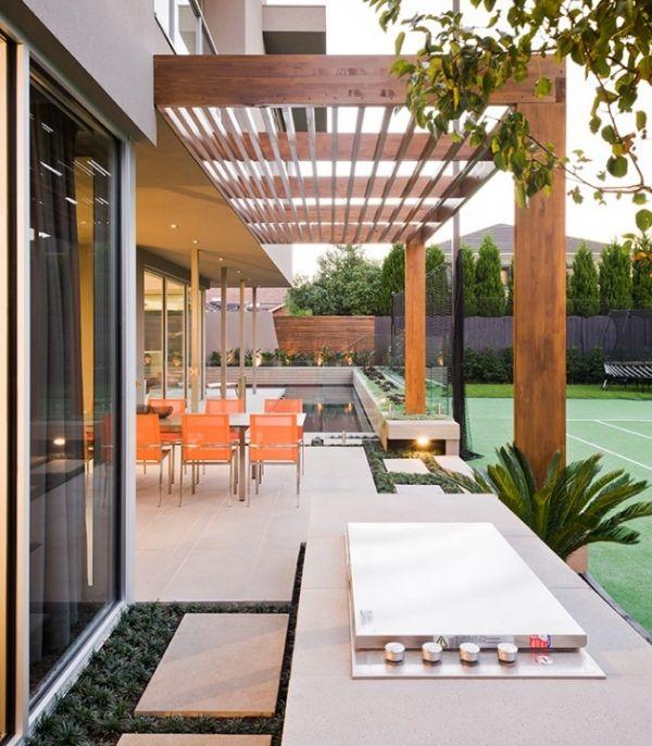 wood and metal pergola -concrete bbq