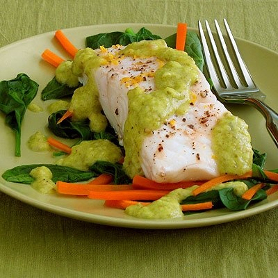 ... Fish with Julienned Carrots and Spinach with Lemon-Green Onion Sauce