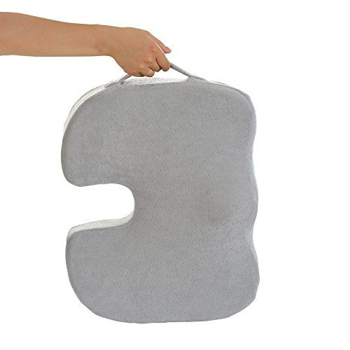 Dr. Ergo - Orthopedic Coccyx Memory Foam Seat Cushion for Sciatica Pain Relief Back Support, Ergonomic Chair Accessories, Car, Stadium Seating, Wheelchair, Truck Driver Sacral Wedge Donut Pillow -Gray