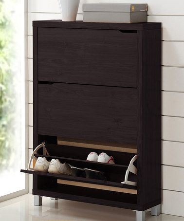 Dark Brown Simms Modern Shoe Cabinet by Baxton Studio on #zulily