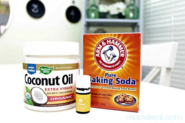 Make-your-own-goo-gone. You will need 1/2 cup of Coconut Oil, 1/2 cup of Baking Soda and 6 drops of Lemon Essential Oils.