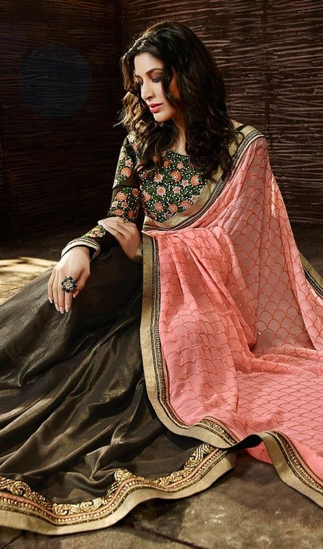 Plunge into elegance like Sophie Chaudhary in this georgette and raw silk embroidered half n half sari. The charming lace, resham and stones work a significant characteristic of this attire. #indiansari #indianlooksaris #shimmerhalfnhalfsaree