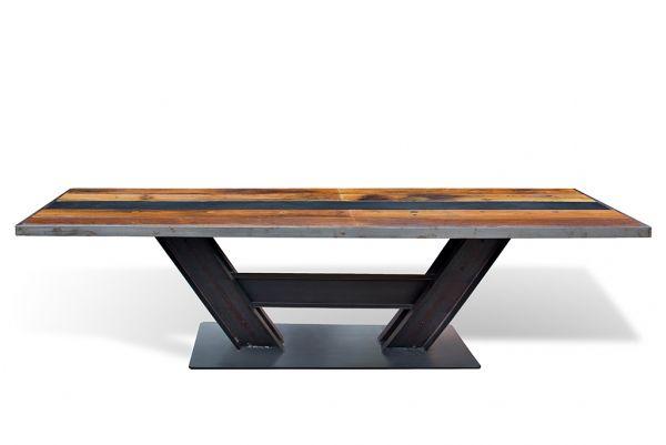 Regency Dining Table - длинный обеденный стол на железном подстолье с деревянной фактурной столешницей (вяз). Лофт.