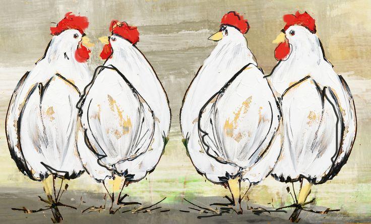 vrolijk schilderij met kippen shop