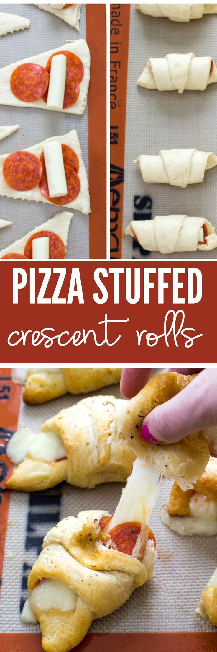 Pizza Stuffed Crescent Rolls loaded with gooey mozzarella cheese and pepperoni. Serve with warm marinara for dipping!