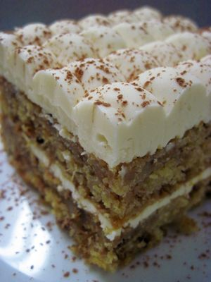 Preacher's Cake filled with crushed pineapple and walnuts and topped with cream cheese frosting