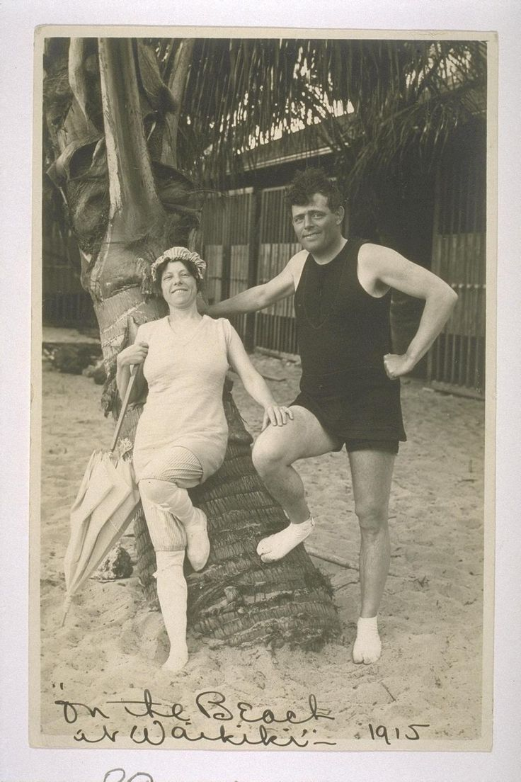 """Jack and Charmian London in Hawaii. Inscribed: """"On the Beach at Waikiki"""" 1915"""