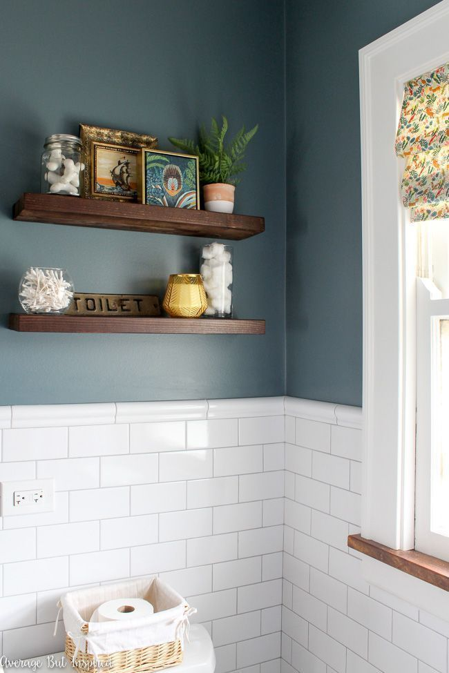 Floating shelves above the toilet are a place to display artwork, useful items f…   – most beautiful shelves