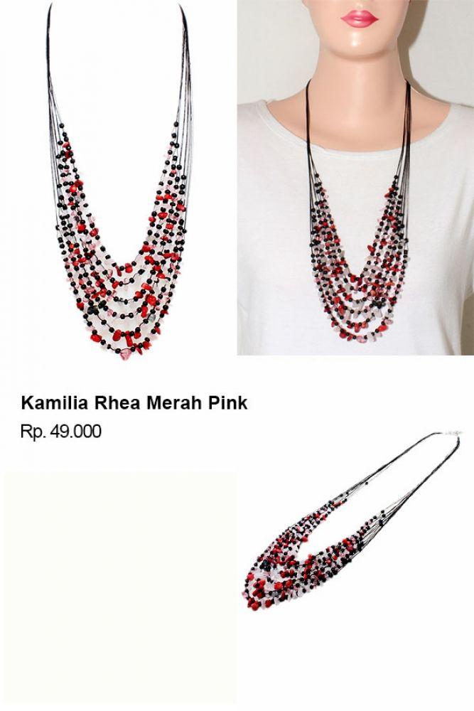 Shvana Kalung Kamilia Rhea Merah Pink - Model : Kalung batu berlayer 6 dengan paduan warna batu yang sangat cantikBahan : Tali, batu-batuan dengan warna cantik.Panjang Kalung 76 x 83 CmLebar Kalung 11 Cm Tersedia dalam banyak warna : hitam, hijau, biru, merah biru, Putih Krem, dll #jualassesories #jualbahanaksesoris #jualankalung #jualkalungmurah #jualfashionwanita