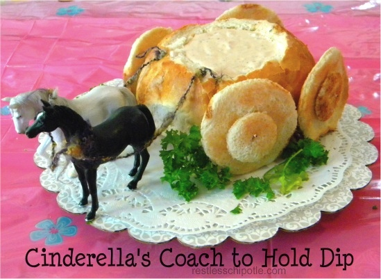"I used a glass pumpkin instead, but it was still just as cute!   Disney Princess Birthday or Tea Party: ""The Royal Coach"" Dip Boule - OMG Love it! I cold borrow horses from farmpark!"