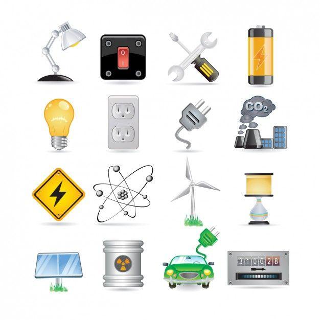Energy Icon Set Free Vector