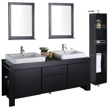 Image Gallery Website Allessa Modern Bathroom Double Vanity Set Espresso