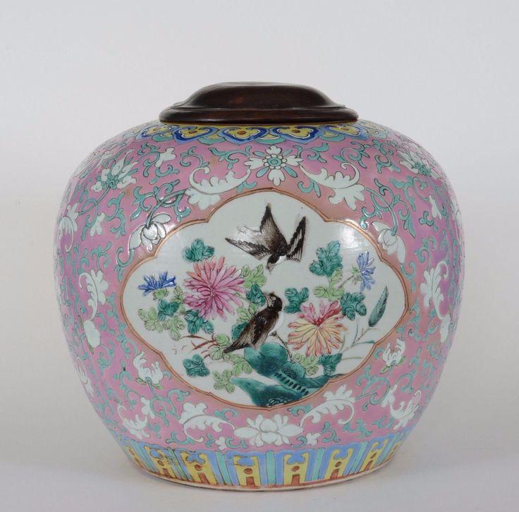 Antique Chinese Straits Porcelain Nyonya Ginger Jar Phoenix Poeny | eBay