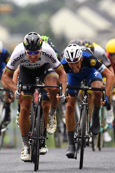 Peter Sagan crosses the finish line ahead of Julian Alaphilippe stage 2 Tour de France 2016 AFP